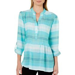 Zac & Rachel Womens Striped Pintuck Roll Tab Top