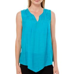 Zac & Rachel Womens Solid Floral Embroidered Sleeveless Top