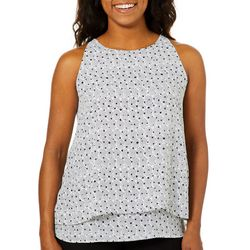 Zac & Rachel Womens Tiered Dot Print Sleeveless Top