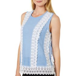 Zac & Rachel Womens Crochet Lace Sheer Sleeveless Top