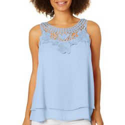 Zac & Rachel Womens Ruffled Crochet Floral Sleeveless Top