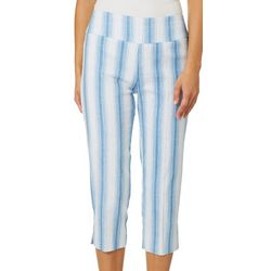 Zac & Rachel Womens Striped Pull On Crop Pants