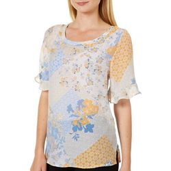 Zac & Rachel Womens Sheer Mixed Floral Ruffle Sleeve Top