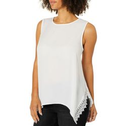 Zac & Rachel Womens Lace Trim Sharkbite Hem Sleeveless Top