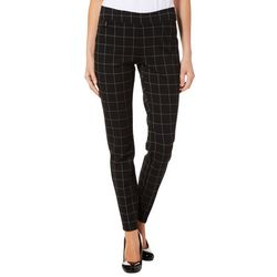 Zac & Rachel Womens Grid Print Pull On Pants