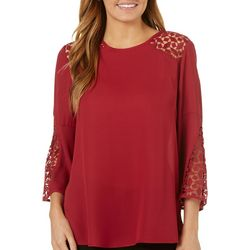 Zac & Rachel Womens Solid Crochet Top