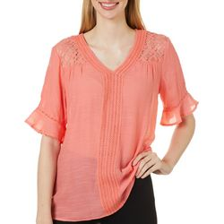 Zac & Rachel Womens Solid Crochet Trim Short Sleeve Top