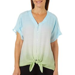 Zac & Rachel Womens Ombre Button Front Top