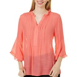 Zac & Rachel Womens Solid Embellished Ruffle Trim Top