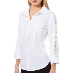 Zac & Rachel Womens Solid Lace Trim Button Down Top