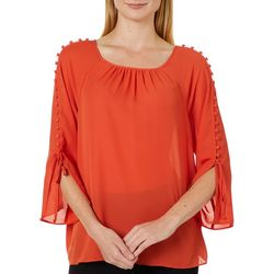 Zac & Rachel Womens Solid Button Tie Sleeve Top