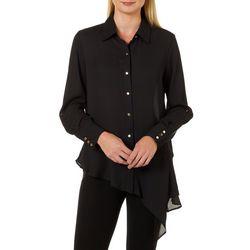 Zac & Rachel Womens Solid Asymmetrical Hem Button Up Top