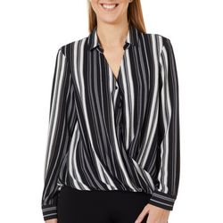 Zac & Rachel Womens Striped Surplice Crepe Long Sleeve Top