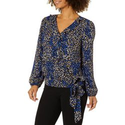 Zac & Rachel Womens Floral Ruffle Wrap Long Sleeve Top