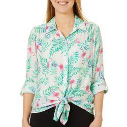 Zac & Rachel Womens Tropical Flamingo Tie Front Top