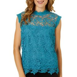 Nanette Lepore Womens Lace Exposed Zip Back Cap Sleeve Top