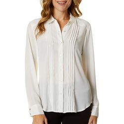 Nanette Lepore Womens Solid Button Down Long Sleeve Top