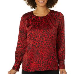 Zac & Rachel Womens Animal Print Long Sleeve Top