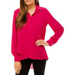 Zac & Rachel Womens Solid Button Placket Long Sleeve Top