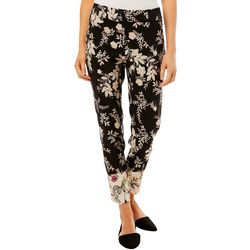 Prosecco Womens Floral Print Slim Ankle Pants