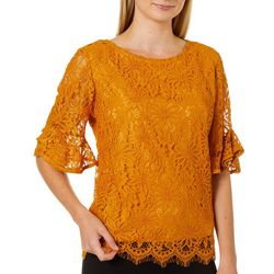 Nanette Lepore Womens Lace Ruffle Sleeve Top