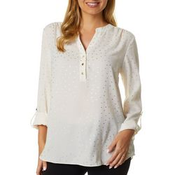 Zac & Rachel Womens Foil Dot Button Down Roll Tab Sleeve Top