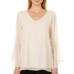 Zac & Rachel Womens Solid Bell Sleeve Top
