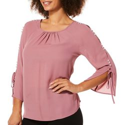 Zac & Rachel Womens Pearl Tie Sleeve Top