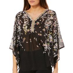 Zac & Rachel Womens Dotted Floral Crochet Neck Top