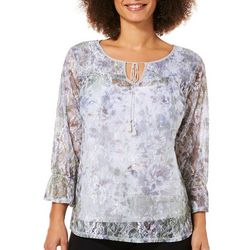 Zac & Rachel Womens Floral Lace Tassel Top