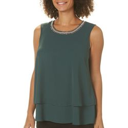 Zac & Rachel Womens Tiered Jewel Neck Sleeveless Top