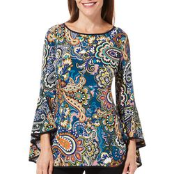 Coco Bianco Womens Paisley Print Embellished Bell Sleeve Top