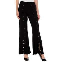 Coco Bianco Womens Solid Embellished Split Hem Flare Pants
