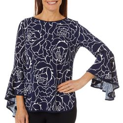 Coco Bianco Womens Rose Puff Print Bell Sleeve Top