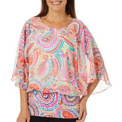 Coco Bianco Womens Paisley Print Blouson Top