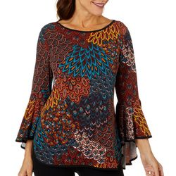 Coco Bianco Womens Mixed Print Bell Sleeve Top