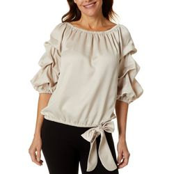 MSK Womens Solid Satin Ruffle Sleeve Top