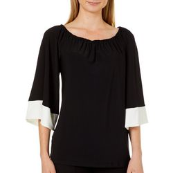 Coco Bianco Womens Contrast Trim Boat Neck Top
