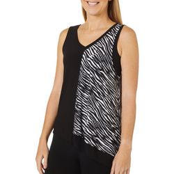 Coco Bianco Womens Zebra Print Asymmetrical Hem Top