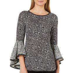 Coco Bianco Womens Leopard Print Bell Sleeve Top