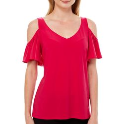 Coco Bianco Womens Solid Cold Shoulder Short Sleeve Top