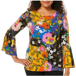 Coco Bianco Womens Floral Print Bell Sleeve Top