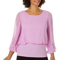 Coco Bianco Womens Solid Tie Sleeve Shelf Top