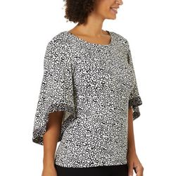 Coco Bianco Womens Leopard Print Contrast Bell Sleeve Top