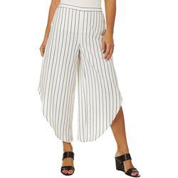 Coco Bianco Womens Striped Diagonal Hem Crop Pants