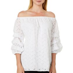 Coco Bianco Womens Eyelet Off The Shoulder Ruffle Top