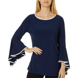 Coco Bianco Womens Solid Contrast Trim Bell Sleeve Top