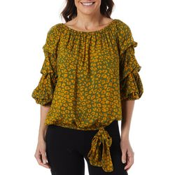 MSK Womens Abstract Leopard Print Ruffle Sleeve Top