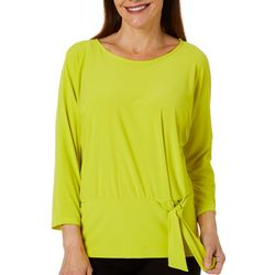 Coco Bianco Womens Solid Side Tie Top