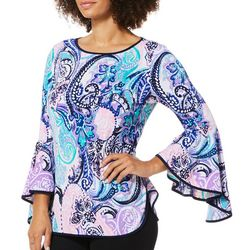 Coco Bianco Womens Paisley Bell Sleeve Top